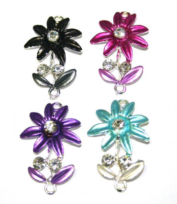 1pce x 35mm*22mm Turquoise daisy with leaves connector - enameled alloy charm with rhinestones